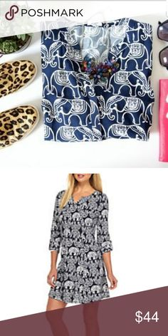 386aabedde5d3 Crown & Ivy navy blue dress Elephant print navy blue and white dress w/  drawstring waist, adjustable sleeve crown & ivy Dresses