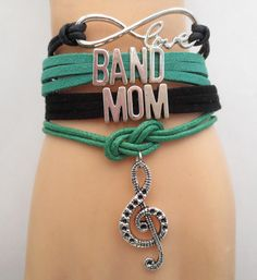 Tell everyone you are a Proud Mom of Band Son or Daughter - Infinity Love Band Mom Bracelet. Don't Miss our sales event. Marching Band Mom, Marching Band Problems, Band Mom Shirts, Band Jokes, Band Nerd, Leather Cord Bracelets, Band Camp, Infinity Love, Band Pictures