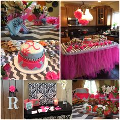 Baby shower decor for baby girl in grey and white chevron and pink.