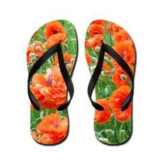 ebd60bb76562 A field of Maine Red Poppies on Flip Flops by Patricia Shea Designs on   CafePress
