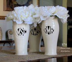 Cursive Monogram Vase Wedding commitment ceremony / by MaidOfClay