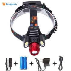 Lumiparty 3000lm Hunting 3 LED Headlamp T6 +2 COB Rechargeable Headlight Head Lamp Torch Lantern With 18650 Battery Car-charger