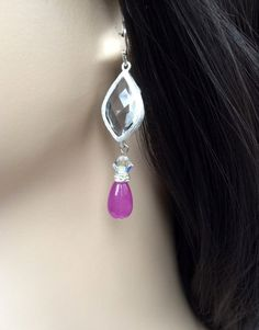 Bridesmaids Crystal and Gemstone Earrings Semi by SUSANsBAUBLES