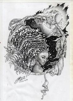 A moça de turbante #pontilhismo #dotwork #blackwoman #draw #desenho #blackwork
