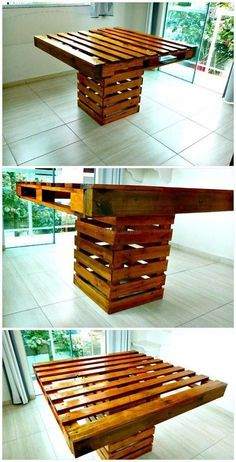 Pallet Table Plans Square Top Pallet Dining Table - Check out this DIY square top and base pallet dining table for your dining table places and cherishing a stylish, gorgeous and truly functional addition. Diy Pallet Furniture, Diy Pallet Projects, Table Furniture, Wood Projects, Pallet Ideas, Outdoor Furniture, Furniture Stores, Diy Pallet Kitchen Ideas, Furniture Making
