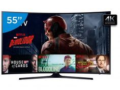 """Smart TV LED 55"""" Samsung 4K/Ultra 55KU6300 - Conversor Digital Wi-Fi HDMI USB"""