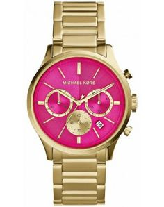 This gorgeous gold and hot pink Michael Kors Bailey watch just hit our shelves at watchit.ca and won't last long.  Featuring an oversized dial and chronograph, it's the perfect addition to a night out, or your spring office attire.