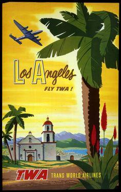 TWA Trans-World Airlines Los Angeles Fly TWA