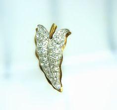 Vintage Leaf Faux Diamond Retro Brooch Scarf Cape by VintageVigo, $16.00
