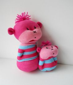 pair of sock buddies sock creature plush soft sculpture