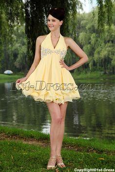 Yellow Cheap Halter Cute Chiffon Mini 15 Quince Gown Dress IMG_0763:1st-dress.com