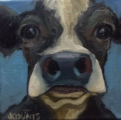 "COW ART HOME KITCHEN FARM RESTAURANT DECOR CUTE ANIMALS  SMALL OIL PAINTING GREAT GIFT IDEA ""TINY TIM"" OIL ON CANVAS 6""X6"""
