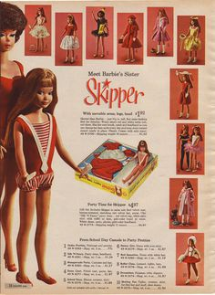 Vintage Mattel Barbie - Skipper advertisement from the 1964 Sears catalog.