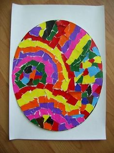 torn paper or mosaic tile Easter Eggs Spring Art Projects, Spring Crafts For Kids, Easter Projects, Art For Kids, Easter Activities For Kids, Art Activities, Easter Art, Easter Eggs, Diy Ostern
