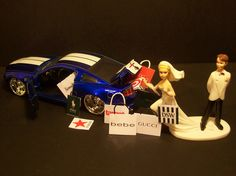 Bride Gone Shopping Funny Wedding Cake Topper Mustang GT. $68.99, via Etsy.