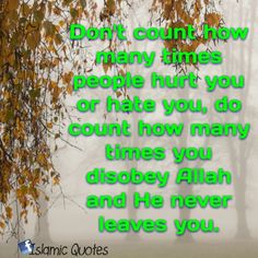 Don't count how many times  people hurt you or hate you, do count how times you disobey Allah and He never leaves you.