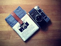"""iPad mini or Samsung Galaxy Tab case with pocket, hipster, vintage style, case for mobile accessories """"Camera - navy"""" Hipster Accessories, Mobile Accessories, Nexus 7, Google Nexus, Vintage Fashion, Vintage Style, Ipad Mini, Samsung Galaxy, Bags"""