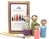 DIY Wooden Peg Doll Craft Kit - Make it yourself - Kids Craft Kit Paint your own Unique Family Portrait Doll Kit