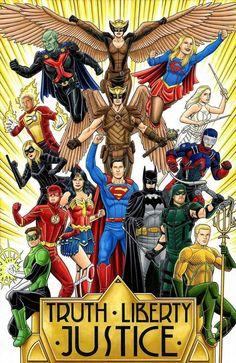 Justice League of America Arte Dc Comics, Dc Comics Superheroes, Dc Comics Characters, Dc Comics Poster, Green Arrow, Aquaman, Comic Superman, Supergirl Superman, Gotham Batman