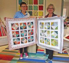 Heather & Shelley with their amazing quilts - made at one of my Quilt in a Weekend workshops. Aren't those quilts amazing? Half Square Triangles, Easy Quilts, Quilt Making, Quilting Projects, Workshop, Students, Colours, Frame, Amazing