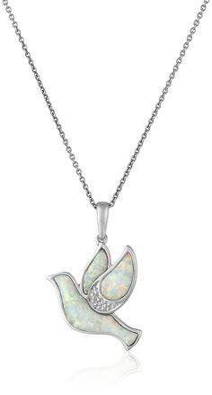 Sterling Silver Created Opal with Diamond Dove Pendant Necklace, 18' * Read more at the image link.