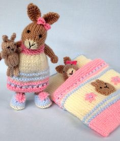 Knitting Pattern for Bedtime Bunny Set - This cute little bunny is ready for bed in a pretty nightdress and slippers. She has a cozy sleeping bag with an attached pillow and a tiny toy bunny to cuddle while she sleeps. #ad More pics on Etsy at http://www.awin1.com/cread.php?awinaffid=234273&awinmid=6220&p=https%3A%2F%2Fwww.etsy.com%2Flisting%2F278211580%2Fbedtime-bunny-plus-tiny-toy-bunny-and%3Fref%3Dlisting-shop-header-0 tba