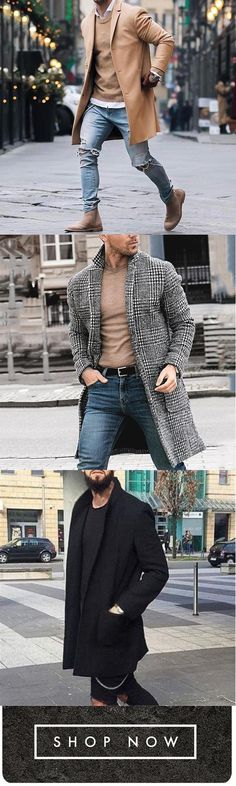 50d6f85ec95 Mens Mid-long Solid Color Trench Coat Single-Breasted Jacket Florychic  Fashion Pure Color Long Warm Coat Florychic Fashion Casual Gentleman  Outerwear Coat