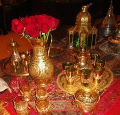 366410119653251918 Moroccan and Arabian night themed party decoration ideas. Table centerpieces, Lanterns, Tea pot and tea cups, via Flickr.