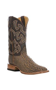 02f68b8b0971bd Cavender s Men s Tan  amp  Brown Hornback Gator Print Western Square Toe  Boot Cavenders Boots