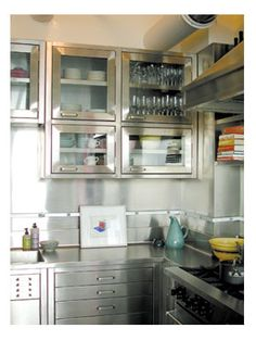 For the Kitchen remodel ~ stainless cabinets for above the range.  Love these!