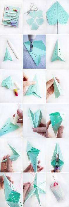 How to make 3D stars!  It would be so cute to add a mini light bulb!