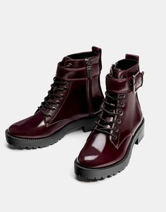 Biker ankle boots with buckles - Ankle boots - Bershka United States Buckle Ankle Boots, Combat Boots, Traje A Rigor, Magic Shoes, Leather Gifts, Sneaker Heels, Sock Shoes, Bag Accessories, Footwear