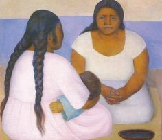 dos mujeres y un nino; rivera, 1926