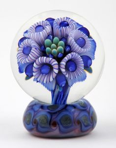 Cane Flowers in Blue Art-Glass Marble on a matching stand (?) by.......? find artist? anyone? ♥•♥•♥ Beautiful♥•♥•♥