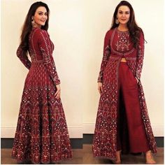maroon beautiful printed plazzo suit