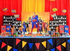 Justice League Themed Birthday Party and free party printables Superman Party, Superman Birthday, Superhero Birthday Party, 3rd Birthday Parties, 4th Birthday, Birthday Ideas, Birthday Cake, Candy Bar Party, Tiki Party