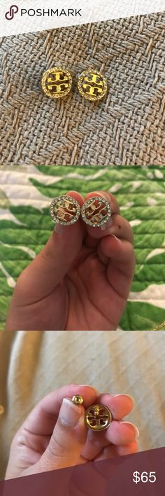 "NWOT Tory Burch Gold and Diamond Studs Beautiful NWOT Tory Burch studs. Earrings have the classic Tory Burch ""T"" in the middle with rhinestones circling the outer edge of the earrings. Absolutely stunning. Tory Burch Jewelry Earrings"