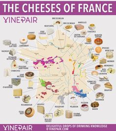 And nowhere produces more delicious, iconic cheese than France. So here's your official guide to the cheeses of France. Get to know them, dig in, and then go grab a bottle of vino. France Map, France Travel, French Wine, French Food, Junk Food, Epoisses, Brian Boitano, Munster, Fromage Cheese