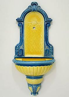 Sarreguemines French Majolica Three-piece Yellow and Blue Wall Fountain
