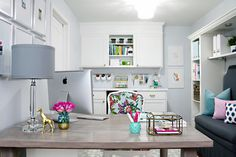 This room/office is SO pretty. I can't wait to have my own home office/space! Home Office Space, Home Office Design, Office Designs, I Heart Organizing, Workspace Inspiration, Kid Spaces, Living Spaces, House Colors, Sweet Home