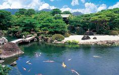 Japanese garden in summer, Adachi museum