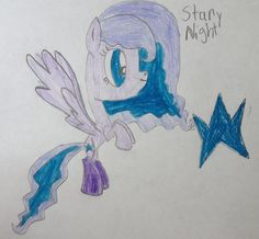 Starry Night is a fun pony to be around.. When she flys fast she can make a starry speed trail behind her.. She is soon going to live in pony vill with Pinkie Pie..50 bits to adopt..