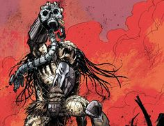 The Predator known as Ahab stands victorious with the skull of an Engineer! Taken from Dark Horse Comics' Fire and Stone series (Predator).