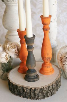 paint old candlesticks festive colors - put them on top of my wood chips    Thanksgiving Home Decor Fall Harvest Candle Stick by braggingbags