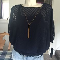 NWT Navy Cold Shoulder Top Super classy 3 piece (tank, blouse and chain). Chain is removable....elastic waistband...you will love this one!!! 100% Polyester  Next Day Shipping Guaranteed  No Modeling or Trades!!!! BCX Tops Blouses