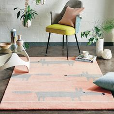 Lend a feel-good factor to modern homes with Scion Living Mr Fox Blush rug, featuring a thick pile of pure new wool. Scion Mr Fox, Orange Carpet, Grey Carpet, Carpet Decor, Carpet Ideas, Nursery Rugs, Bedroom Rugs, Wool Carpet, Interiors