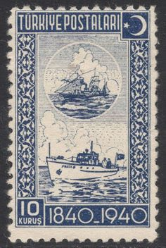 The 10 kurus deep blue has a similar theme, depicting sea mail in the 1840s and the 1940s. From Stamp Magazine Blog.