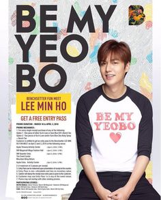 """2016 April 02 (Sat) & 03 (Sun)  (P-09) #Bench (#Fashion #Clothing #Apparel ) #Events #Korean #Actor #LeeMinHo will be at Events """"Be My #Yeobo """":     #Manila (April 02) : 3 pm : Ayala TriNoma  5 pm : SM Mega Mall #Cebu (April 03) 3 pm: SM Seaside  5 pm @ Ayala  [https://twitter.com/WilbrosLive] Wilbros Live (@WilbrosLive) 