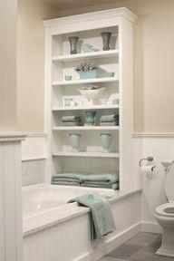 15 Stylish Eclectic Bathroom Design Ideas bathroom storage >> Love this! ideas for a small bathroom Mirror in bathroom: Decorating With Mirr. Small Bathroom Storage, Bathroom Organization, Storage Spaces, Storage Ideas, Organization Ideas, Small Bathrooms, Bathroom Shelves, Bath Storage, Storage Solutions