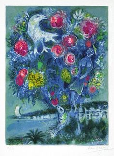 La Baie des Anges au Bouquet de Roses (Angel Bay with a Bouquet of Roses), from Nice and The Côte d'Azur lithograph - Marc Chagall Marc Chagall, Artist Chagall, Chagall Prints, Chagall Paintings, Etching Prints, Naive Art, Pablo Picasso, Fine Art Gallery, Modern Art